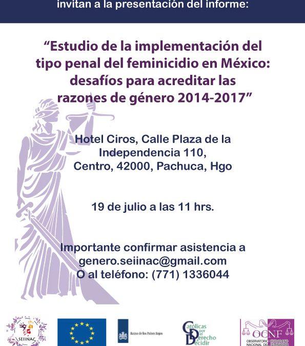 Presentación del informe sobre feminicidio en México